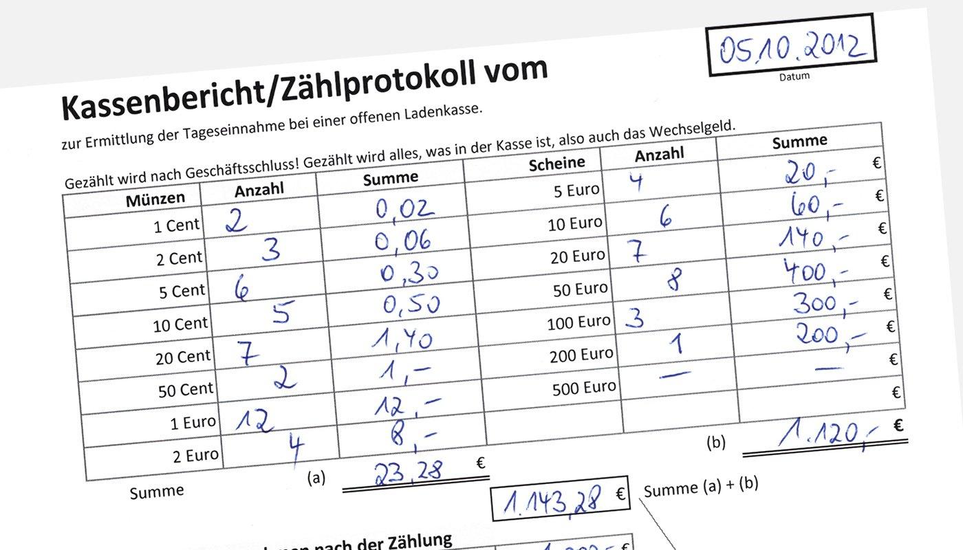 Kassenbericht und Zählprotokoll - Muster